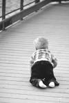 Quinn on bridge crawling bw
